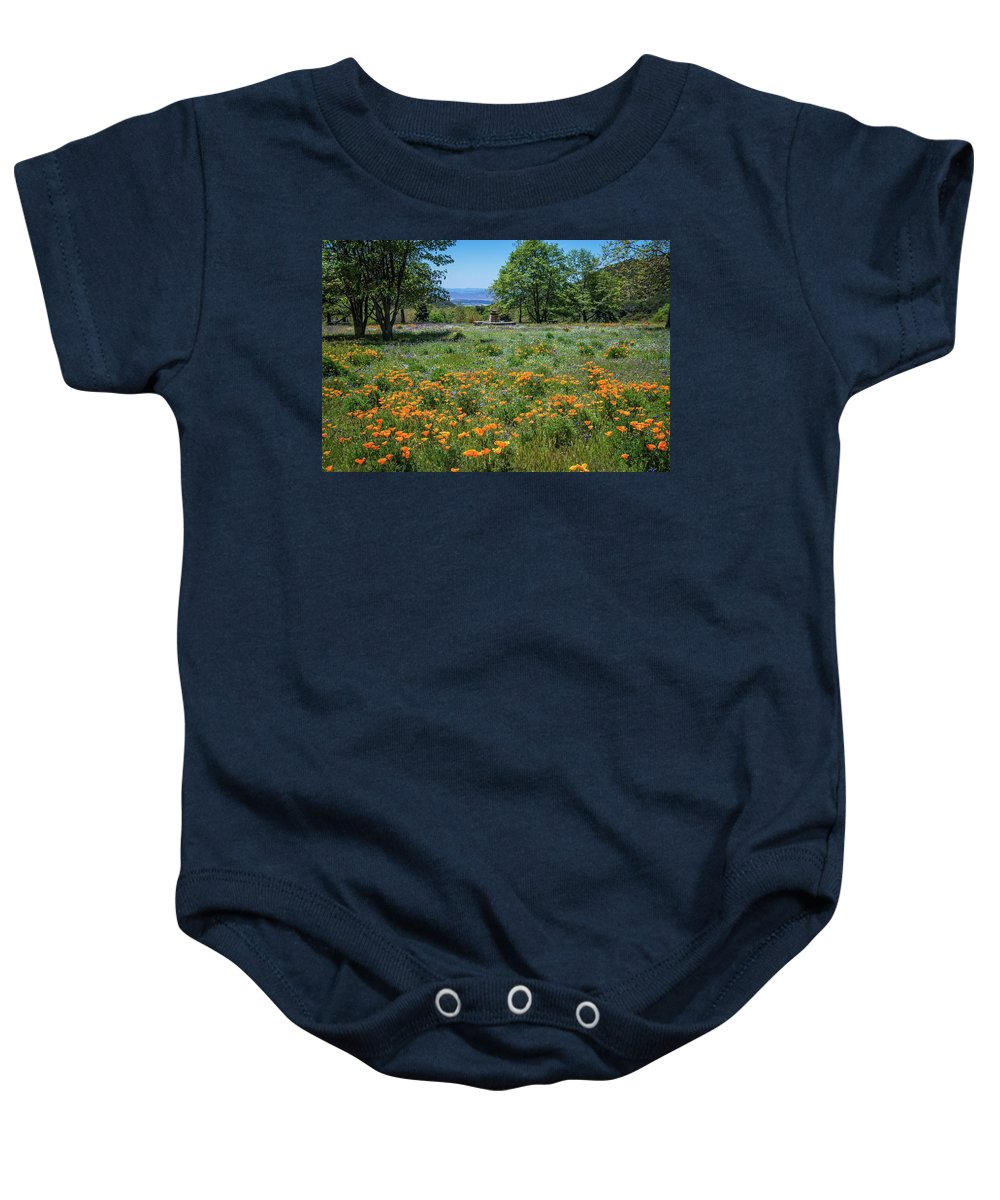 Wildflowers Baby Onesie featuring the photograph Poppies With A View At Oak Glen by Lynn Bauer