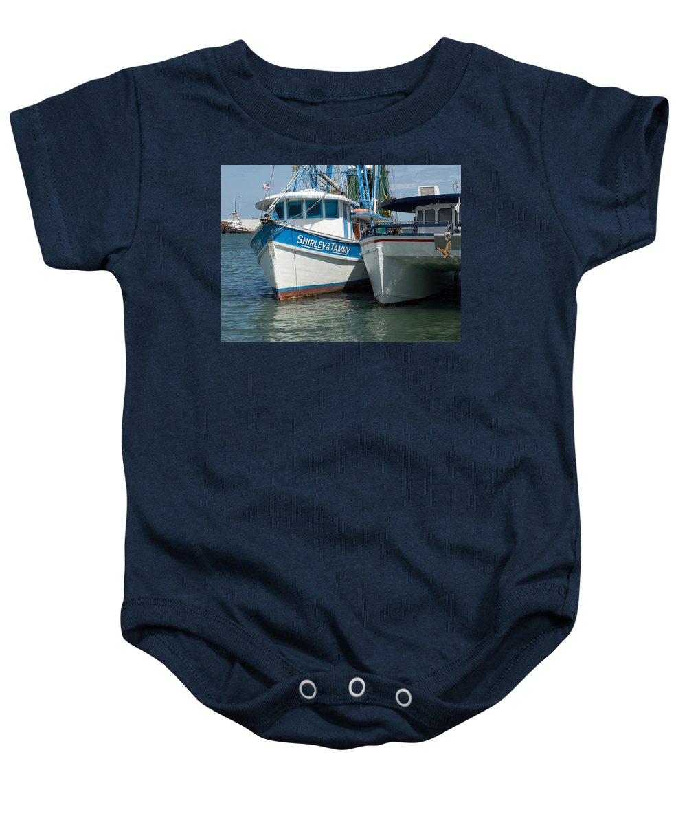 Florida; Usa; Boat; Fishing; Boats; Party; Shrimp; Shrimper; Shrimp; Port; Harbor; Harbour; Canavera Baby Onesie featuring the photograph Port Canaveral In Florida by Allan Hughes