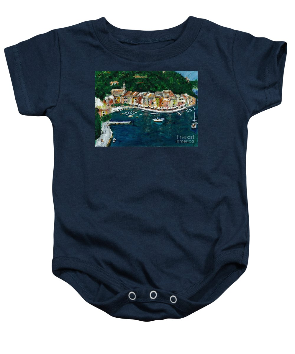 Abstact Italy Baby Onesie featuring the painting Portifino Italy by Frances Marino