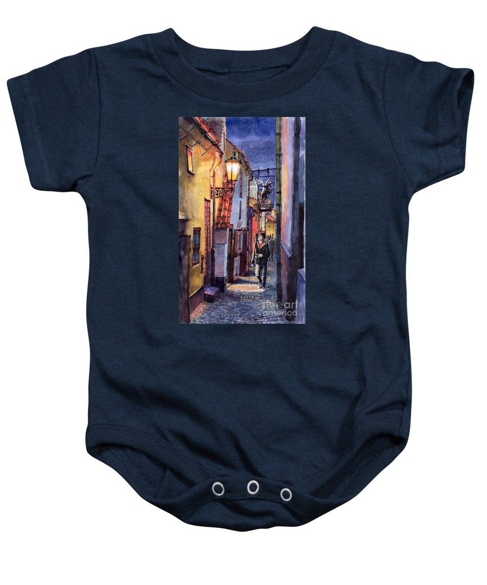 Goldenline Baby Onesie featuring the painting Prague Old Street Golden Line by Yuriy Shevchuk