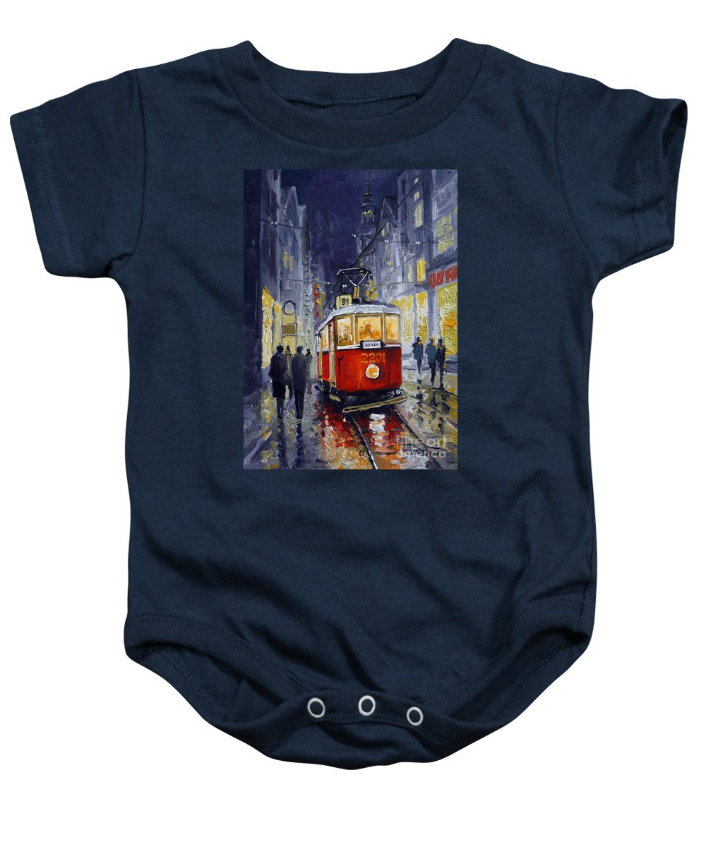 Oil Baby Onesie featuring the painting Prague Old Tram 06 by Yuriy Shevchuk