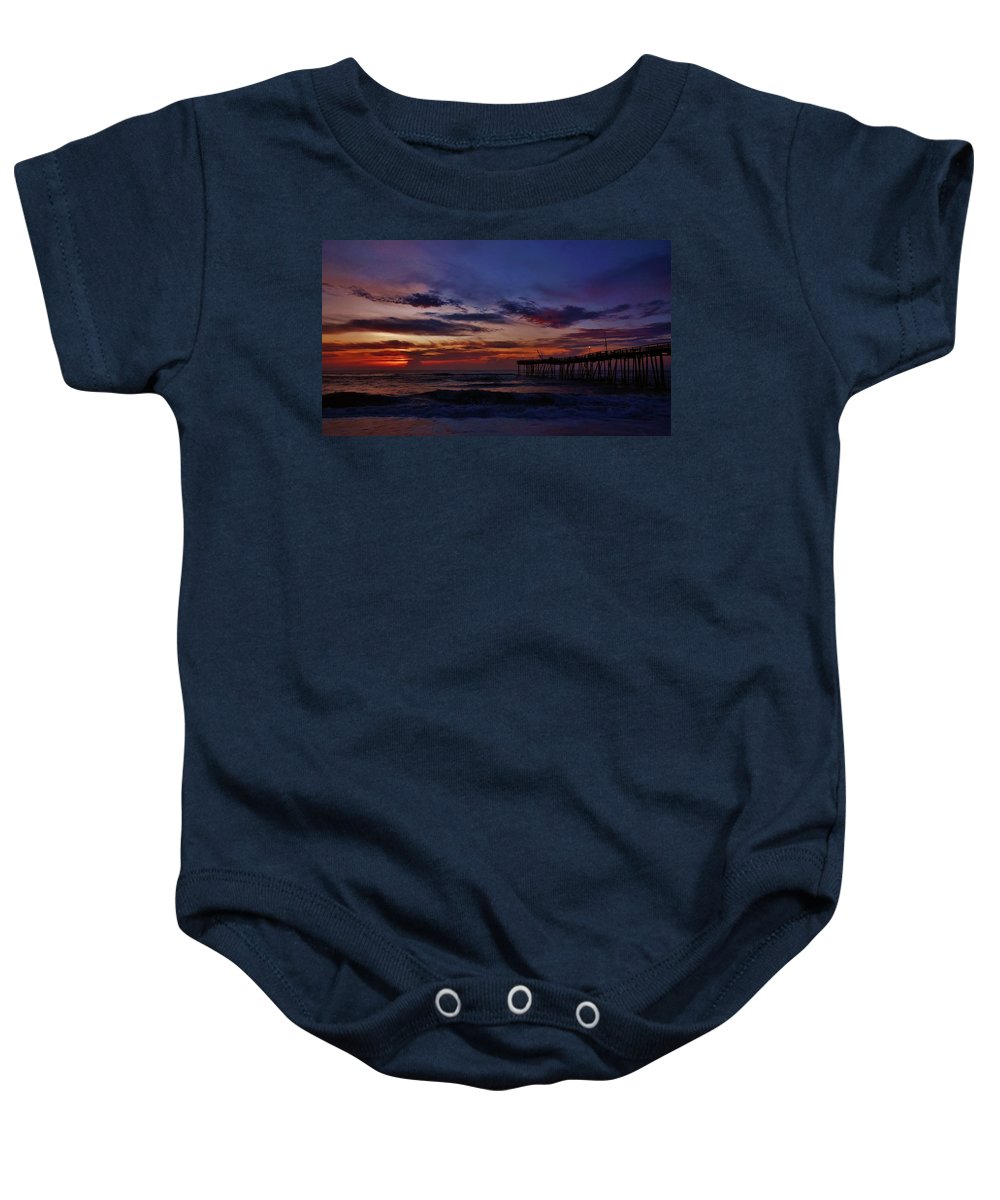 Mark Lemmon Cape Hatteras Nc The Outer Banks Photographer Subjects From Sunrise Baby Onesie featuring the photograph Predawn Avon Pier 2 4/10 by Mark Lemmon