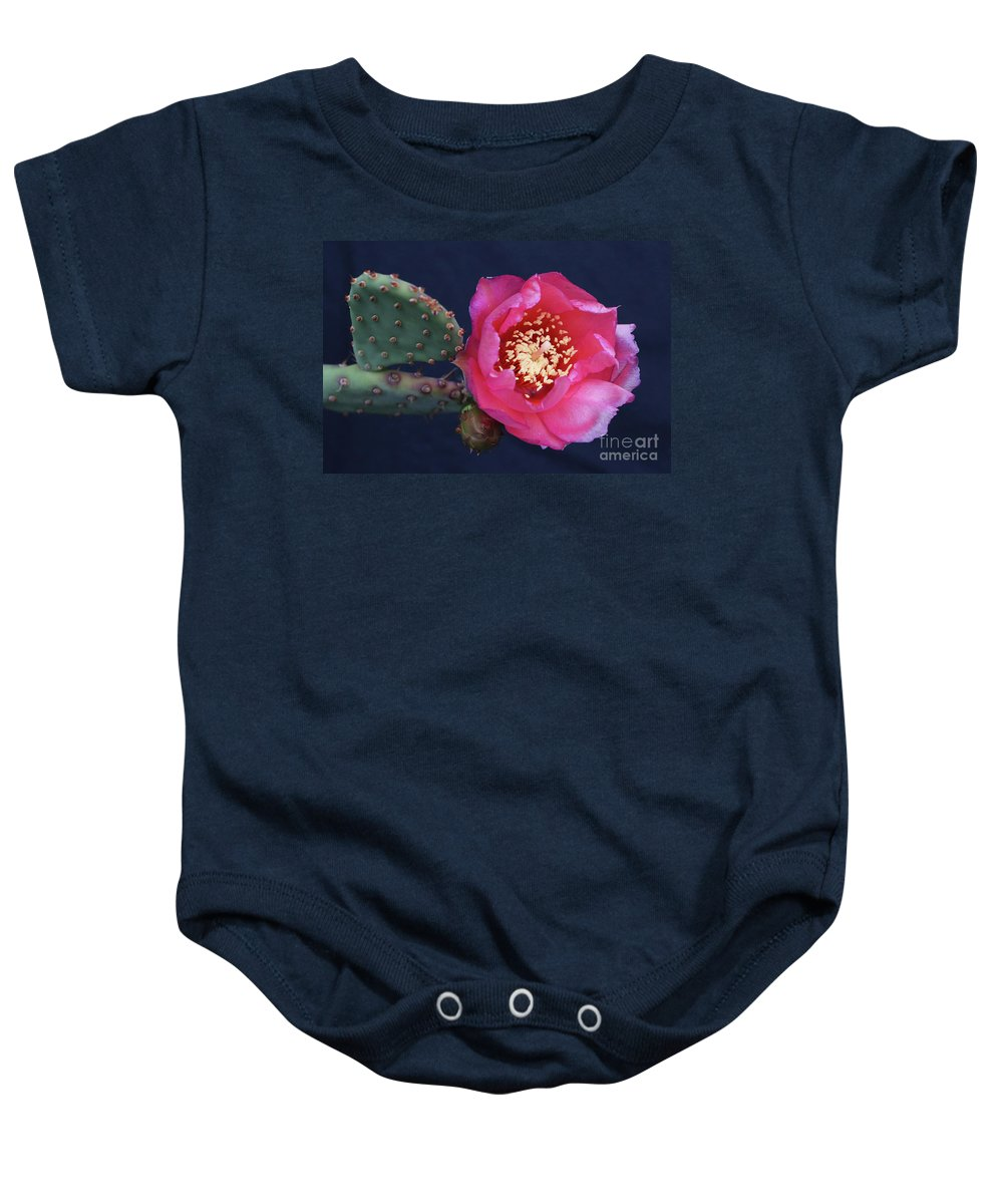 Cactus Baby Onesie featuring the photograph Prickly Pear Bloom by Kevin McCarthy
