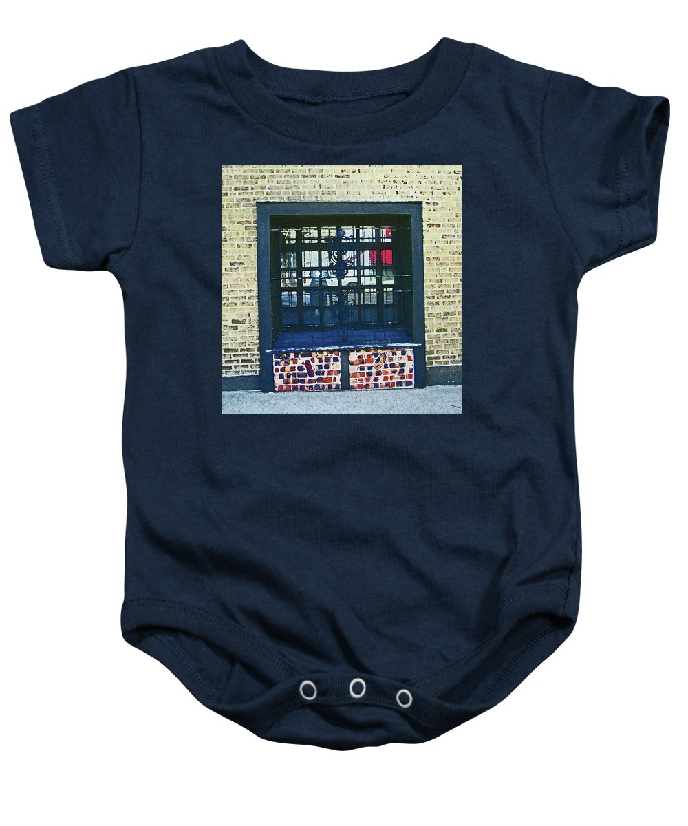 Abstract Baby Onesie featuring the digital art Pueblo Downtown Bars by Lenore Senior