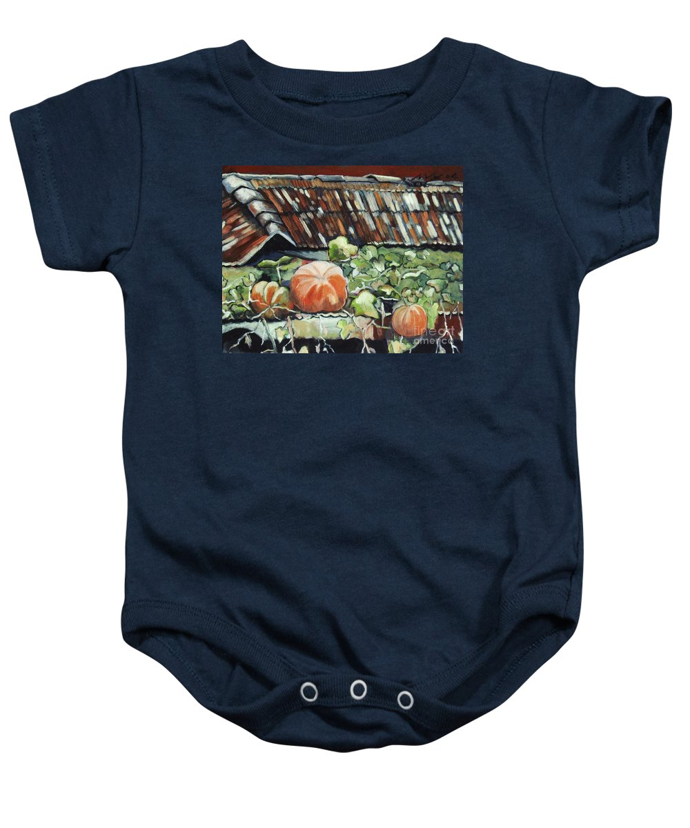 Pumpkin Paintings Baby Onesie featuring the painting Pumpkins On Roof by Seon-Jeong Kim