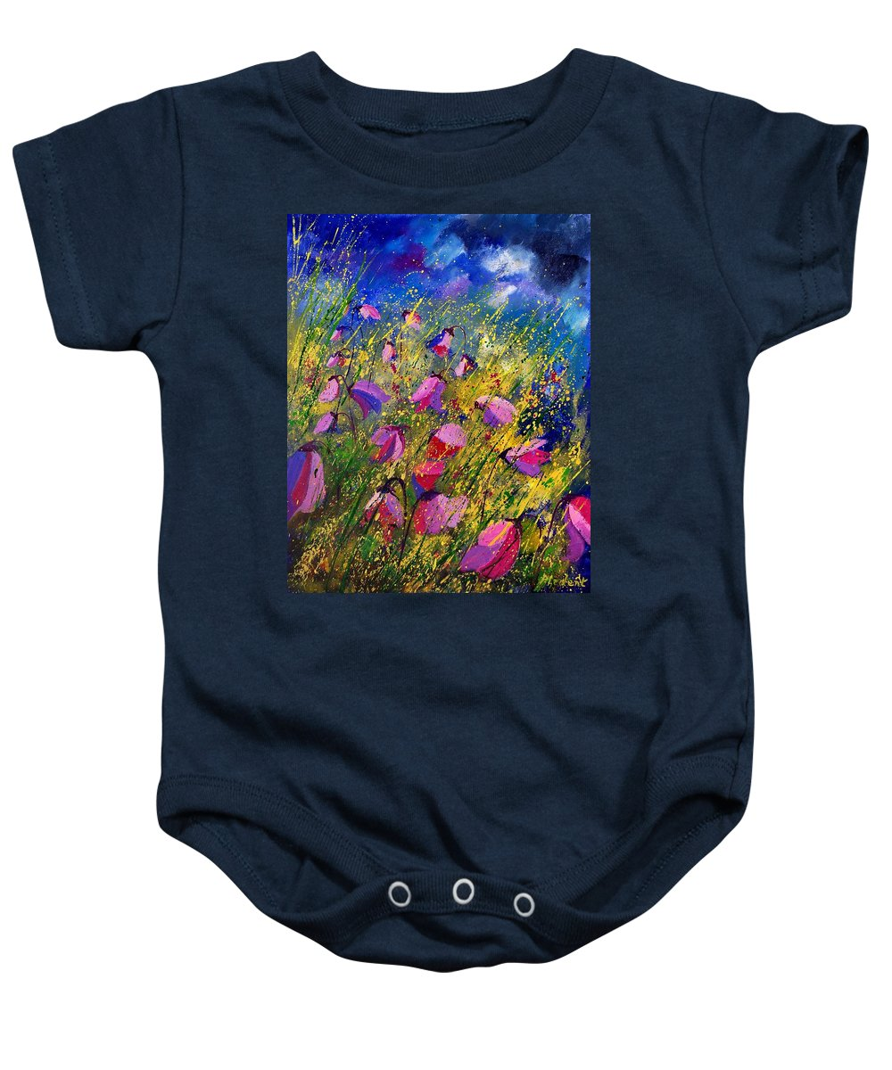 Poppies Baby Onesie featuring the painting Purple Wild Flowers by Pol Ledent
