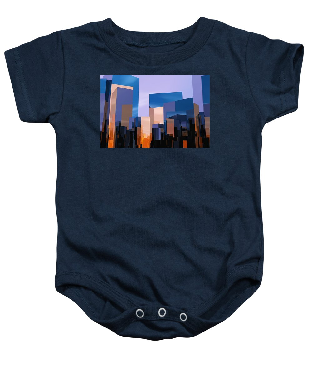 Abstractly Baby Onesie featuring the digital art Q-city One by Max Steinwald