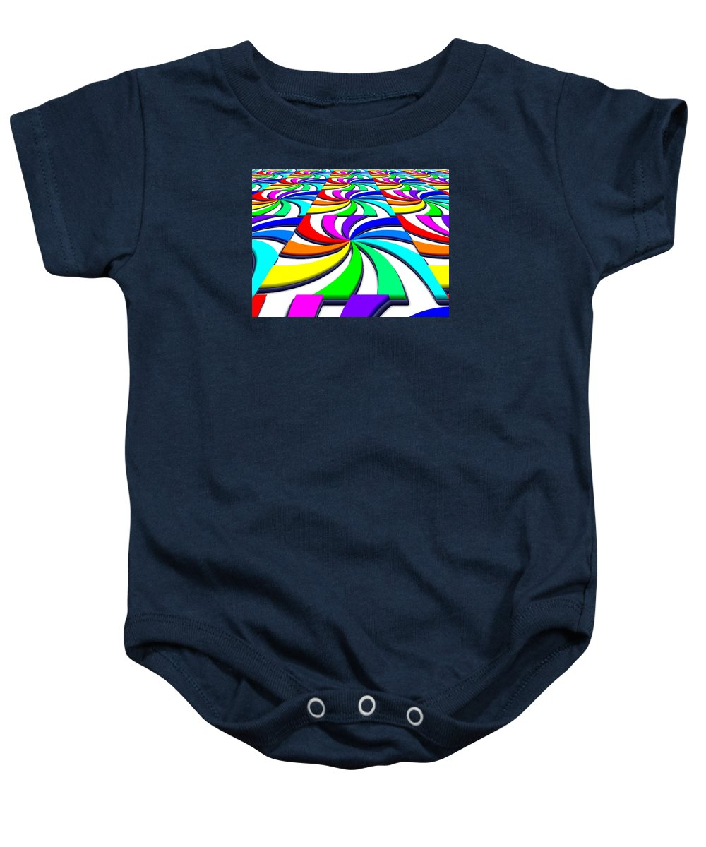Perspective Baby Onesie featuring the digital art Rainbow Spectral Swirl by Miroslav Nemecek