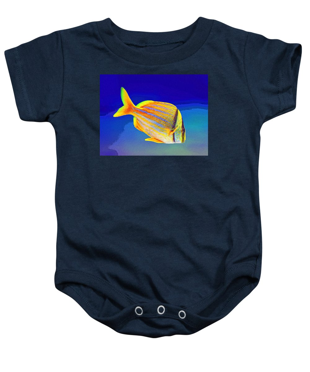Fish Baby Onesie featuring the painting Ramone by Dominic Piperata