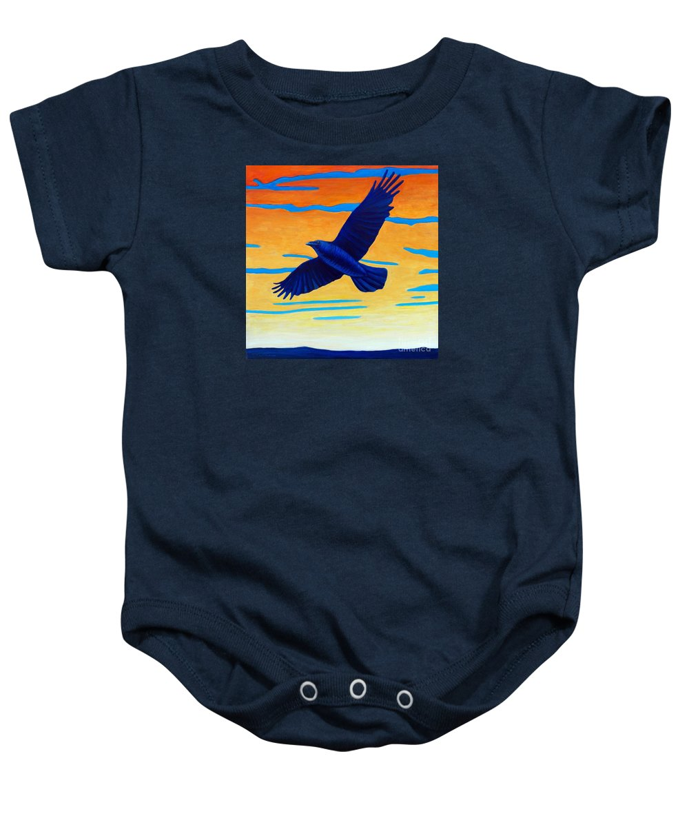 Raven Baby Onesie featuring the painting Raven Rising by Brian Commerford