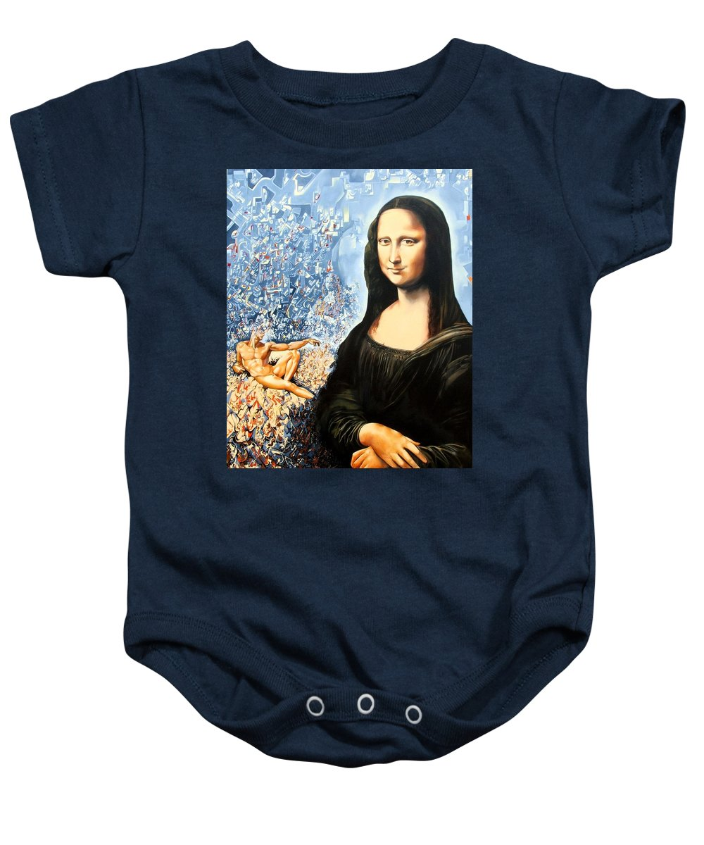 Surrealism Baby Onesie featuring the painting Reconstruction Of High Renaissance by Darwin Leon