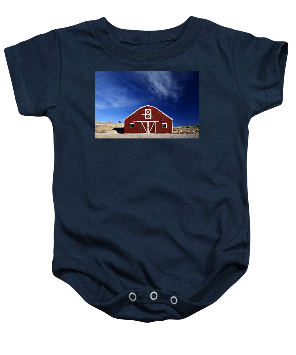 Americana Baby Onesie featuring the photograph Red And White Barn by Marilyn Hunt