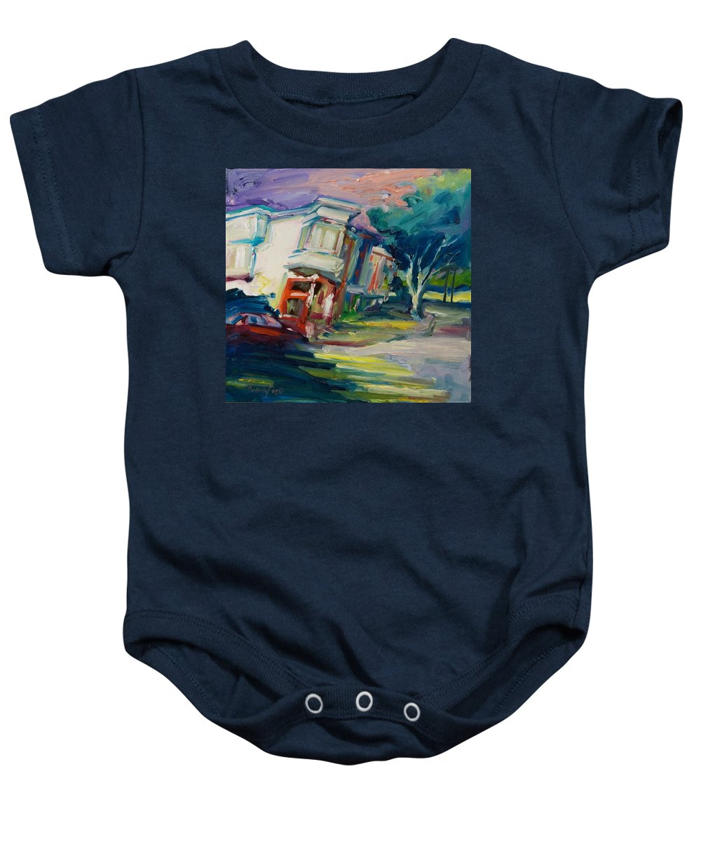Trees Baby Onesie featuring the painting Red Cafe by Rick Nederlof