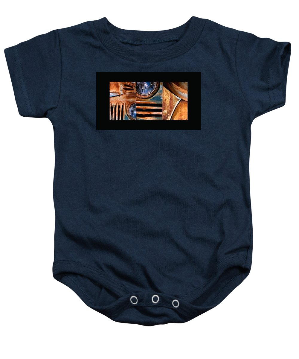 Abstract Photo Of Chevy Truck Baby Onesie featuring the photograph Red Head On by Steve Karol