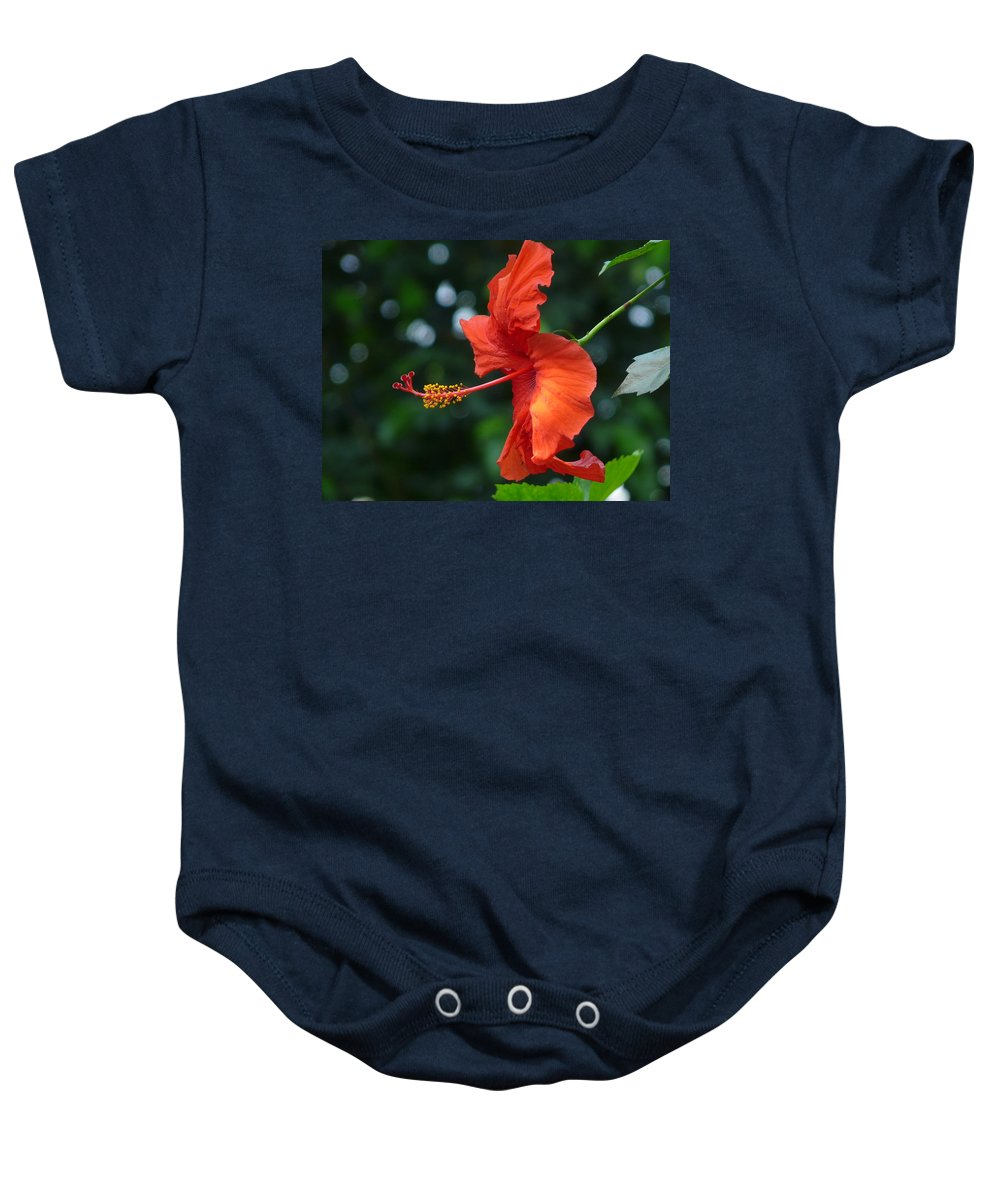 Flower Baby Onesie featuring the photograph Red Hibiscus by Valerie Ornstein