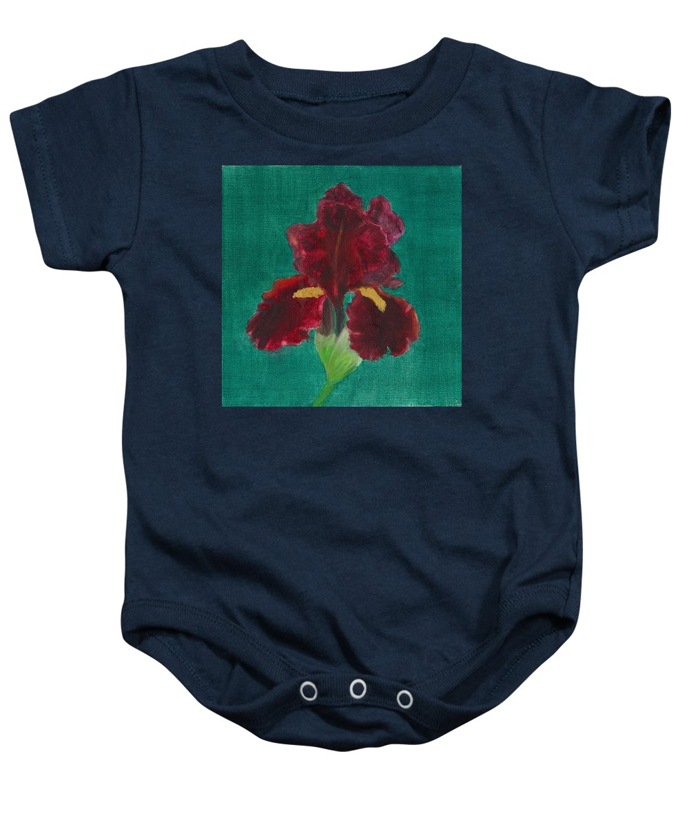 Flower Baby Onesie featuring the painting Red Iris by Paula Emery