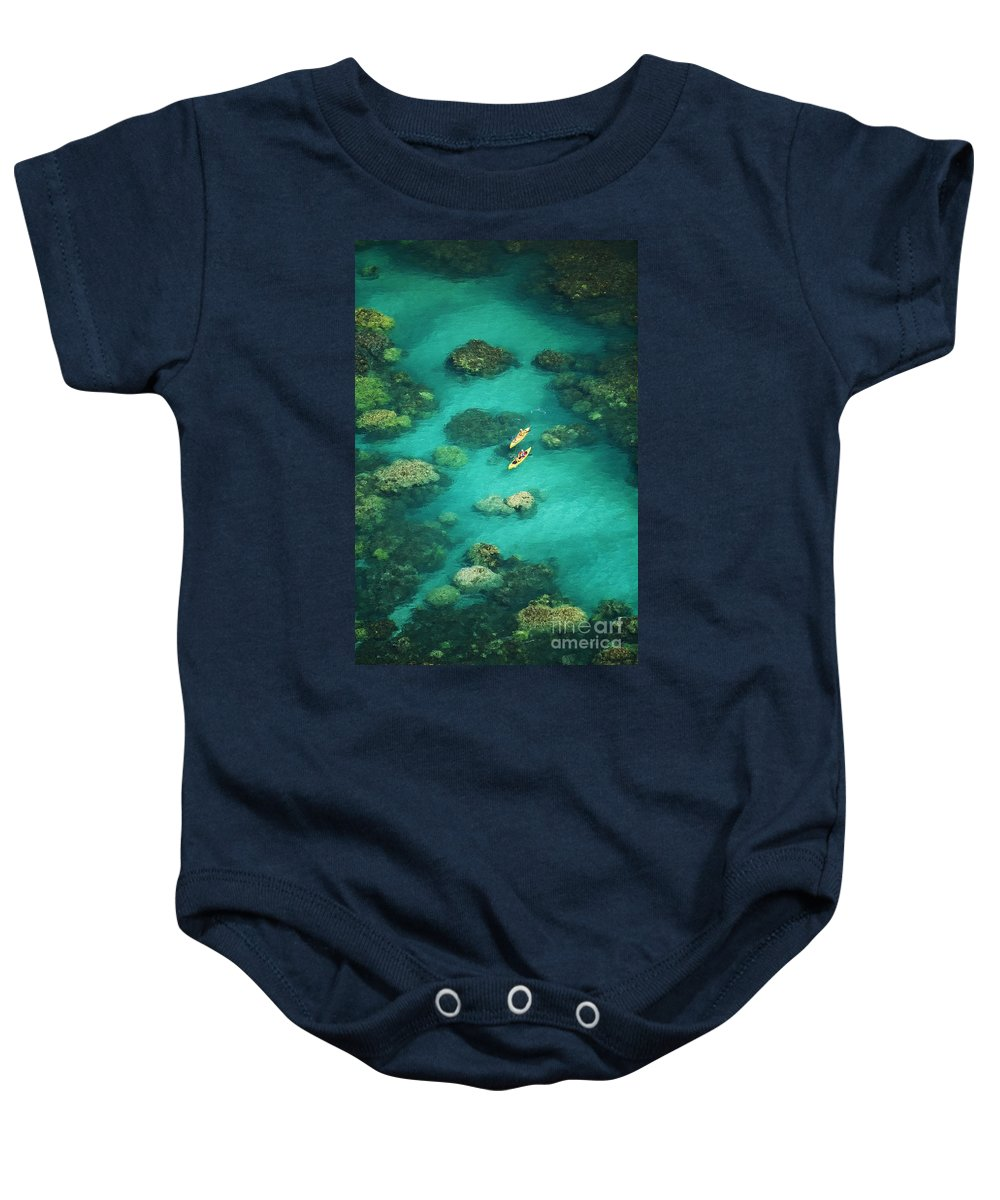 Above Baby Onesie featuring the photograph Red Outrigger Canoe by Ron Dahlquist - Printscapes