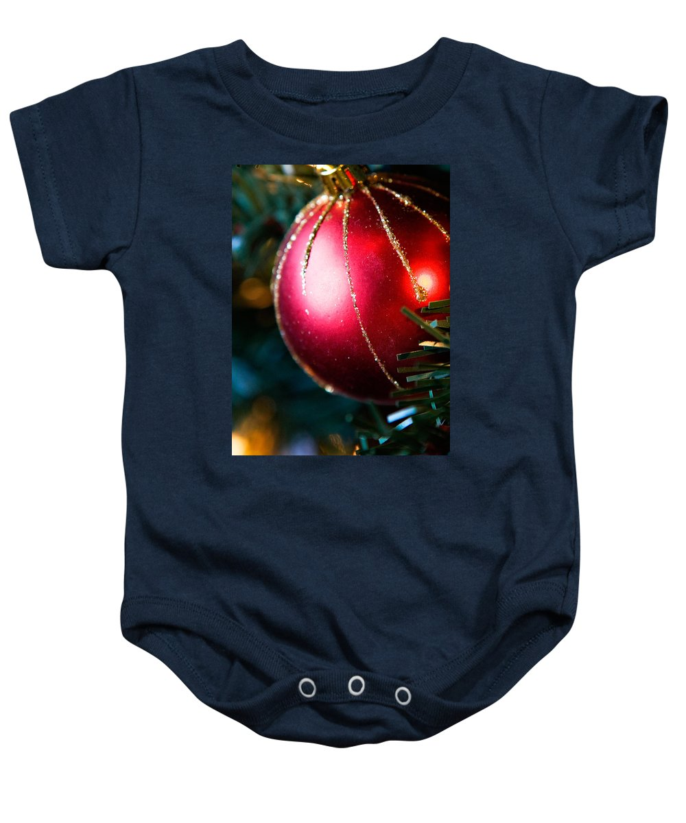 Red Baby Onesie featuring the photograph Red Shiny Ornament by Marilyn Hunt