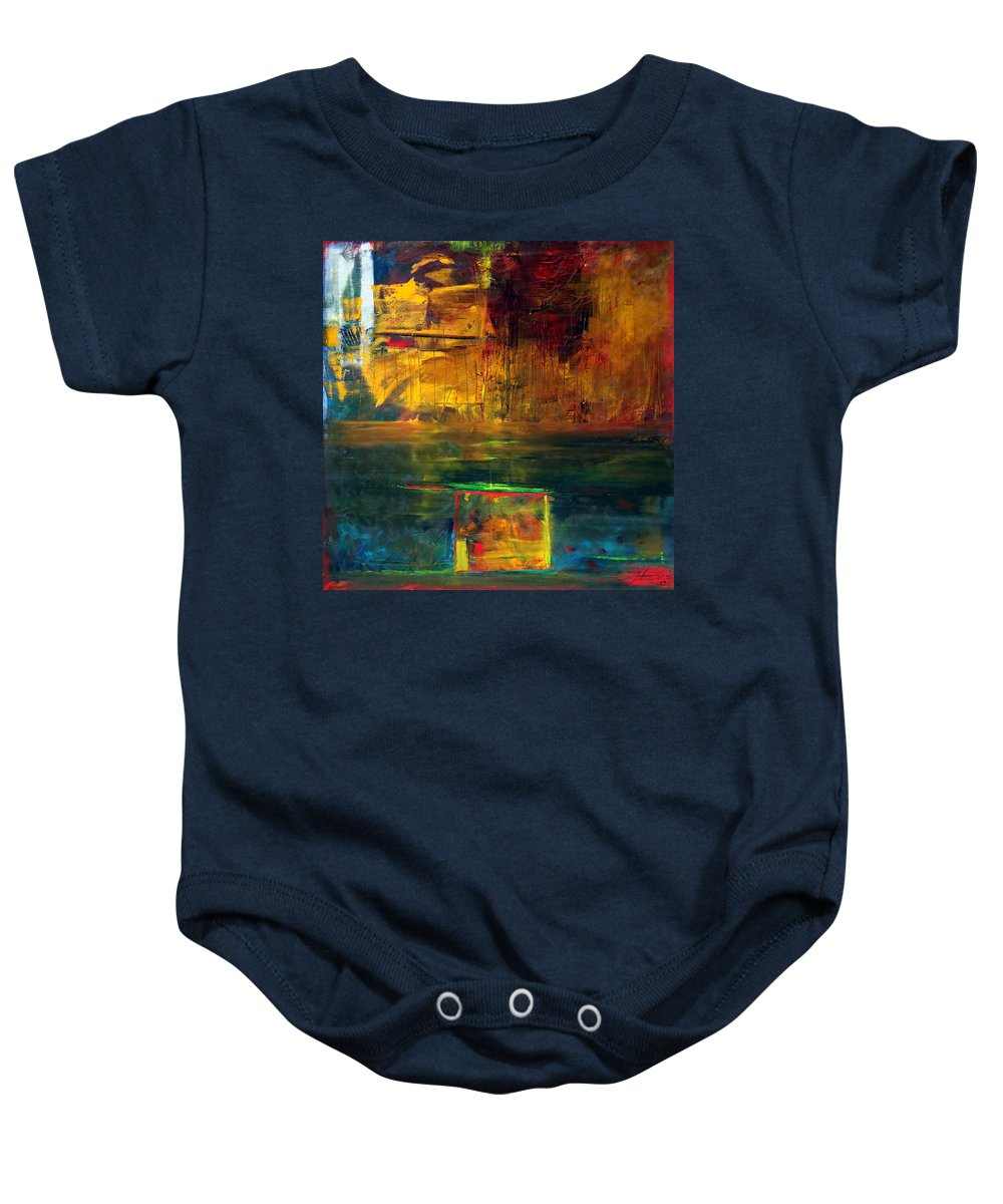 New York City Reflection Red Yellow Blue Green Baby Onesie featuring the painting Reflections Of New York by Jack Diamond