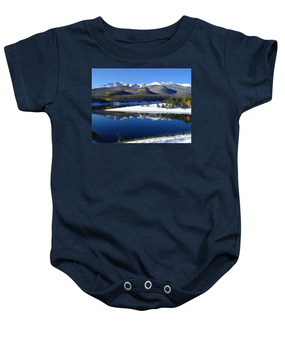 Landscape Baby Onesie featuring the photograph Reflections Of Pikes Peak In Crystal Reservoir by Carol Milisen