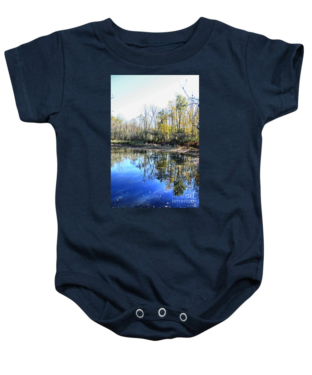 Water Baby Onesie featuring the photograph Reflections On Blue by Deborah Benoit