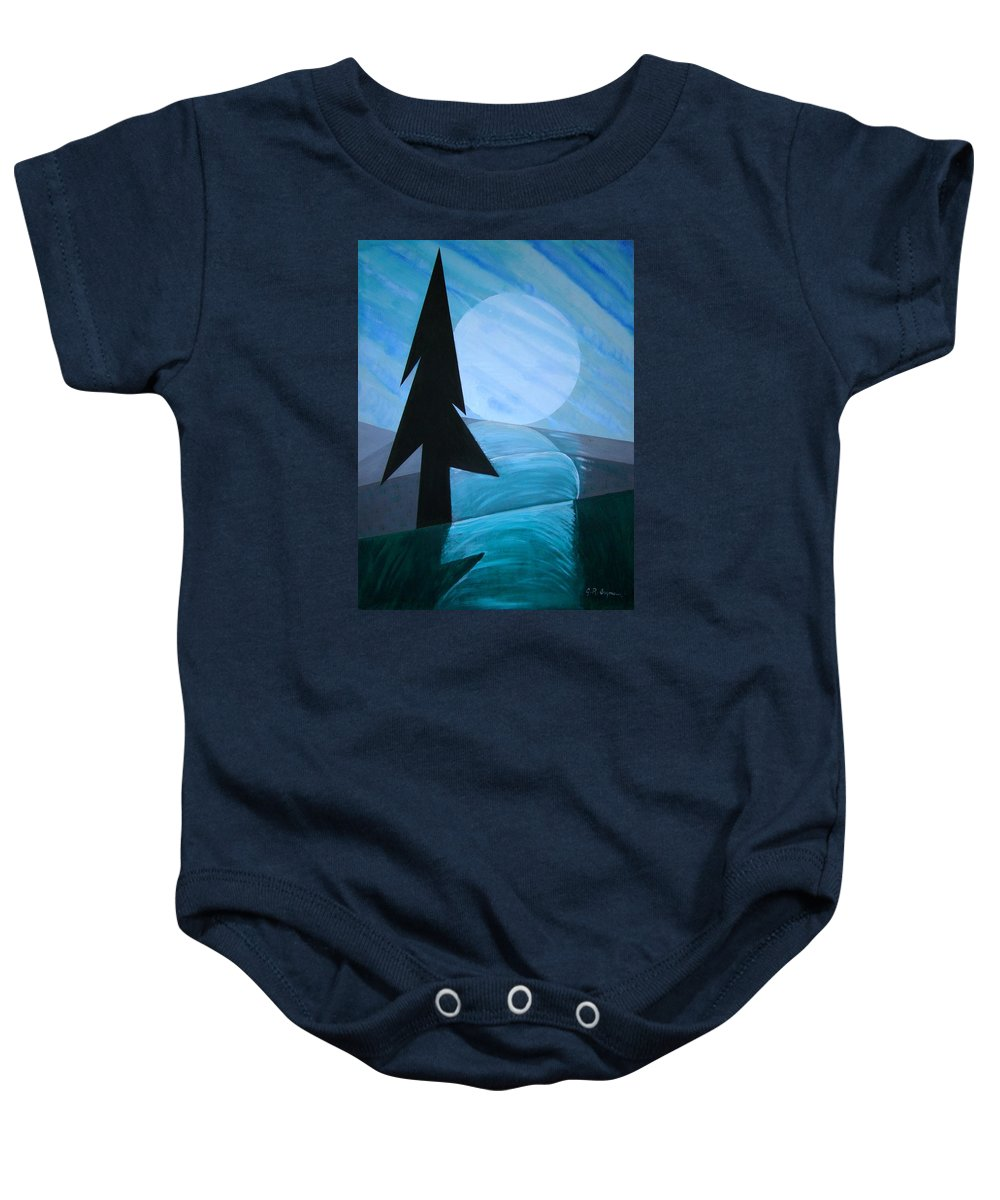 Phases Of The Moon Baby Onesie featuring the painting Reflections On The Day by J R Seymour