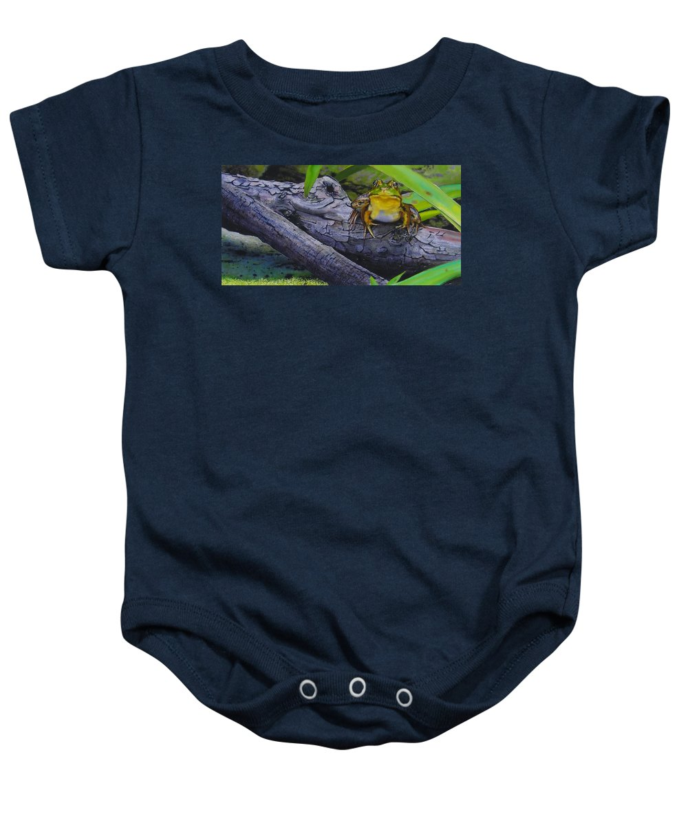 Frog Baby Onesie featuring the painting Restingplace by Denny Bond