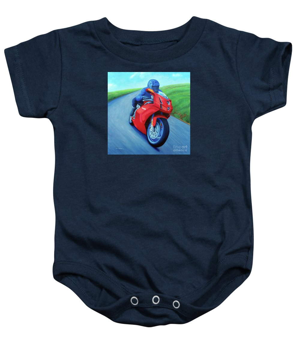 Motorcycle Baby Onesie featuring the painting Riding The Highlands - Ducati 999 by Brian Commerford