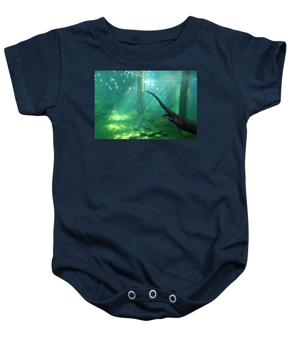 Ft. Worth Zoo Baby Onesie featuring the photograph River Otter Swim by Kenny Glover