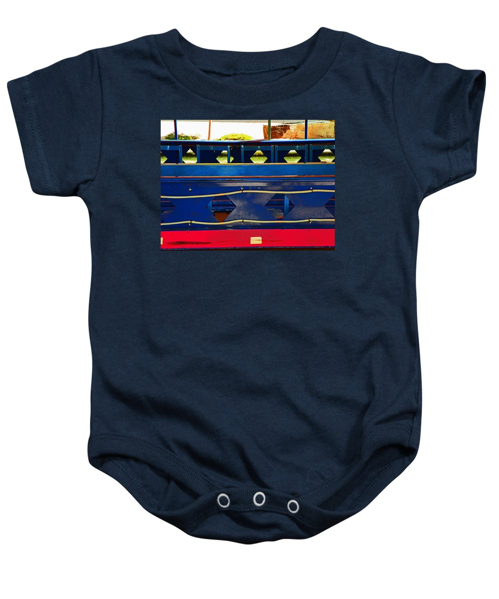 Abstract Baby Onesie featuring the photograph Riverboat Design 2 by Lenore Senior