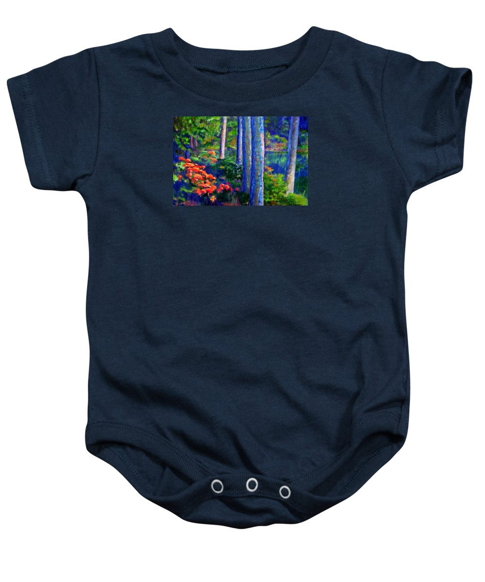 River Baby Onesie featuring the painting Rivers Edge by Michael Durst
