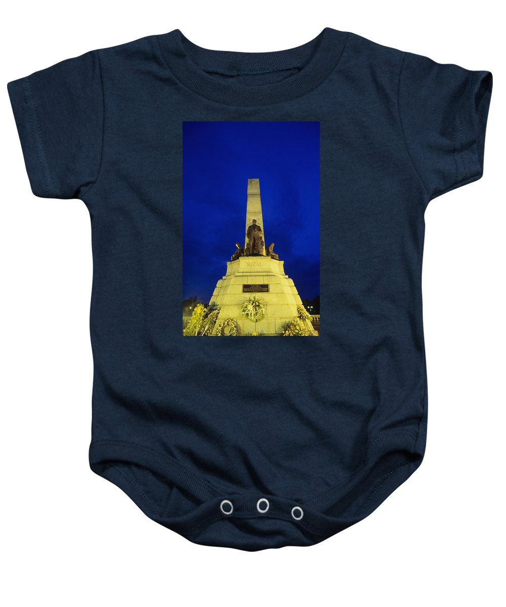 Architectural Art Baby Onesie featuring the photograph Rizal Monument by William Waterfall - Printscapes
