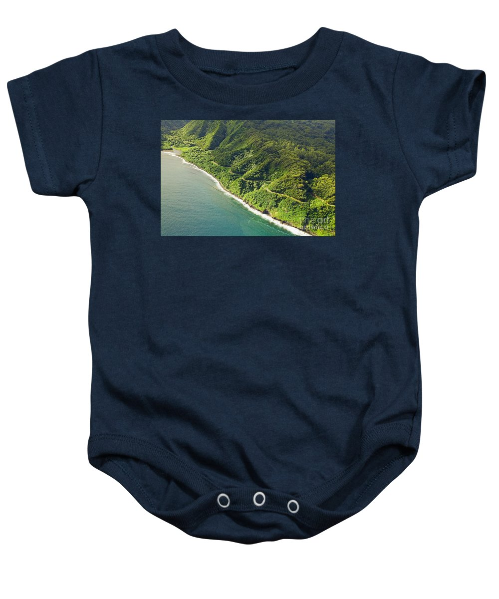 Aerial Baby Onesie featuring the photograph Road To Hana by Ron Dahlquist - Printscapes
