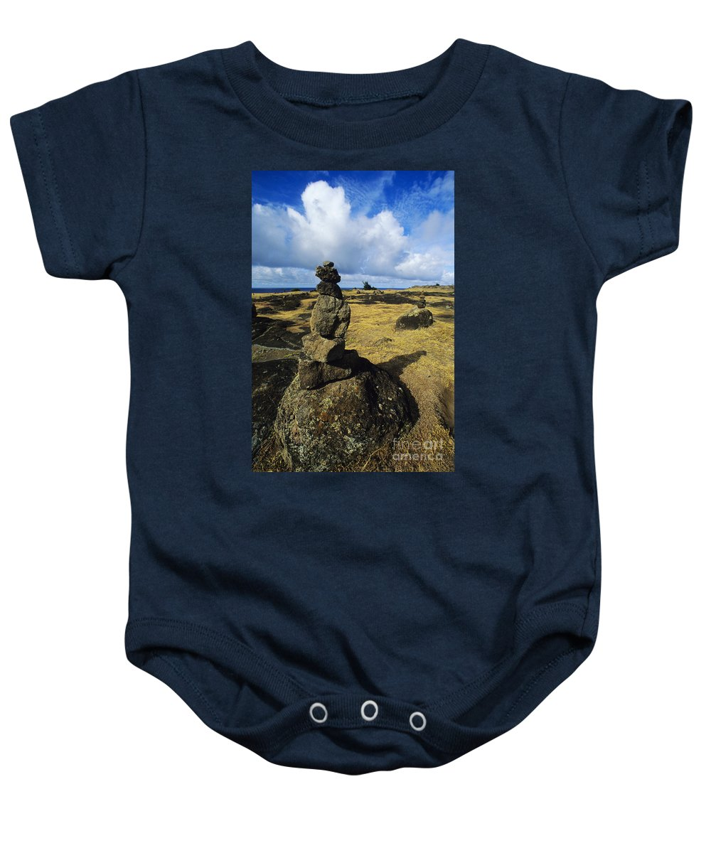 Afternoon Baby Onesie featuring the photograph Rock Stacks by Carl Shaneff - Printscapes