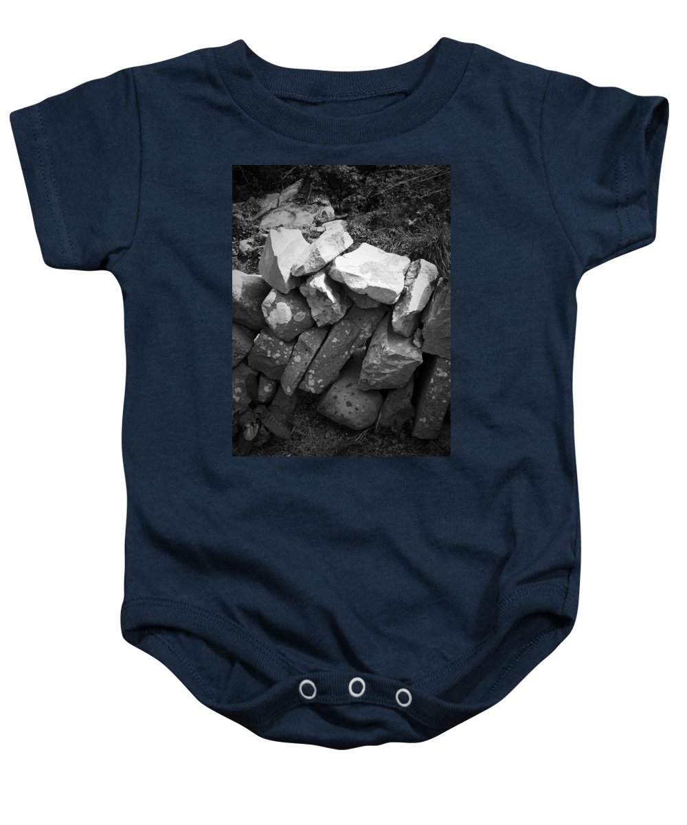 Irish Baby Onesie featuring the photograph Rock Wall Doolin Ireland by Teresa Mucha