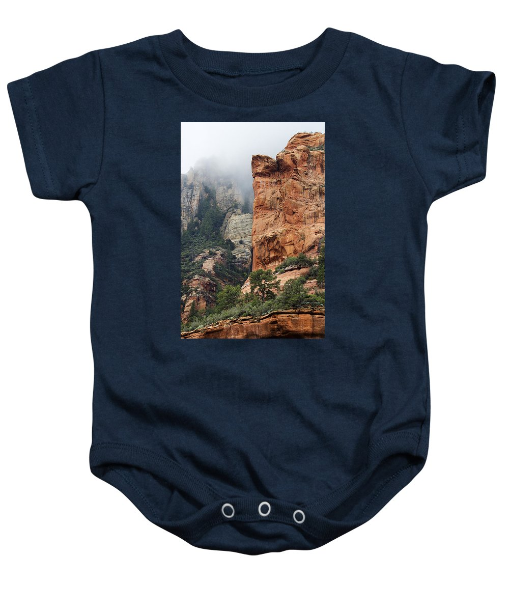 Sedona Baby Onesie featuring the photograph Rollings Mists by Phyllis Denton