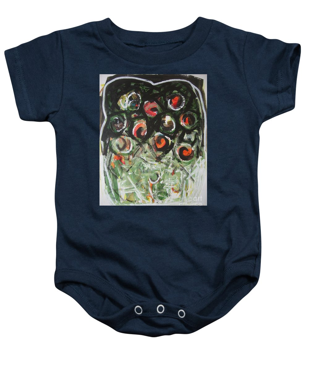 Abstract Painting Baby Onesie featuring the painting Roses by Seon-Jeong Kim