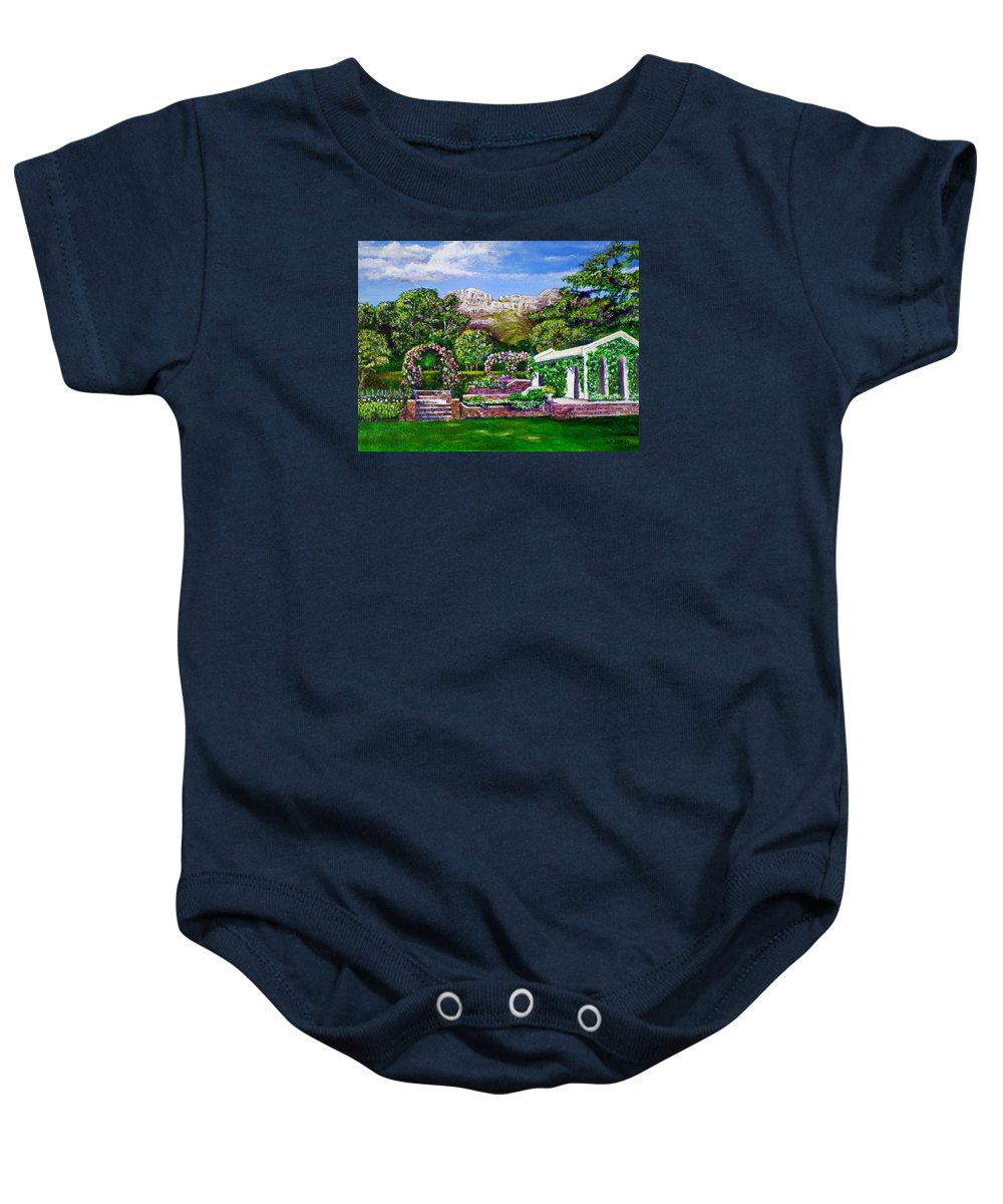 Landscape Baby Onesie featuring the painting Rozannes Garden by Michael Durst