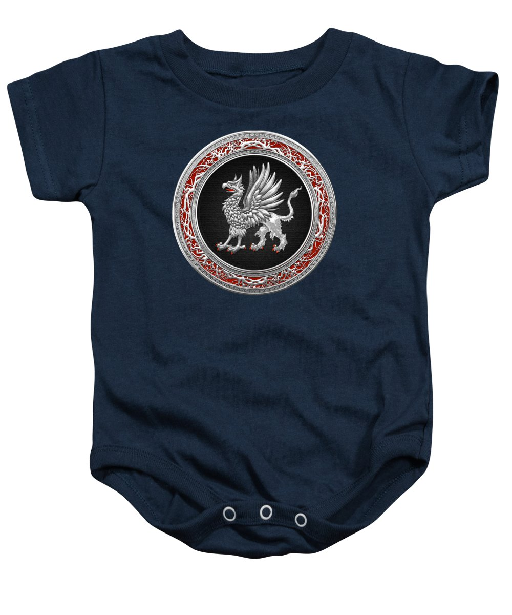 'treasure Trove' By Serge Averbukh Baby Onesie featuring the digital art Sacred Silver Griffin On Blue Leather by Serge Averbukh
