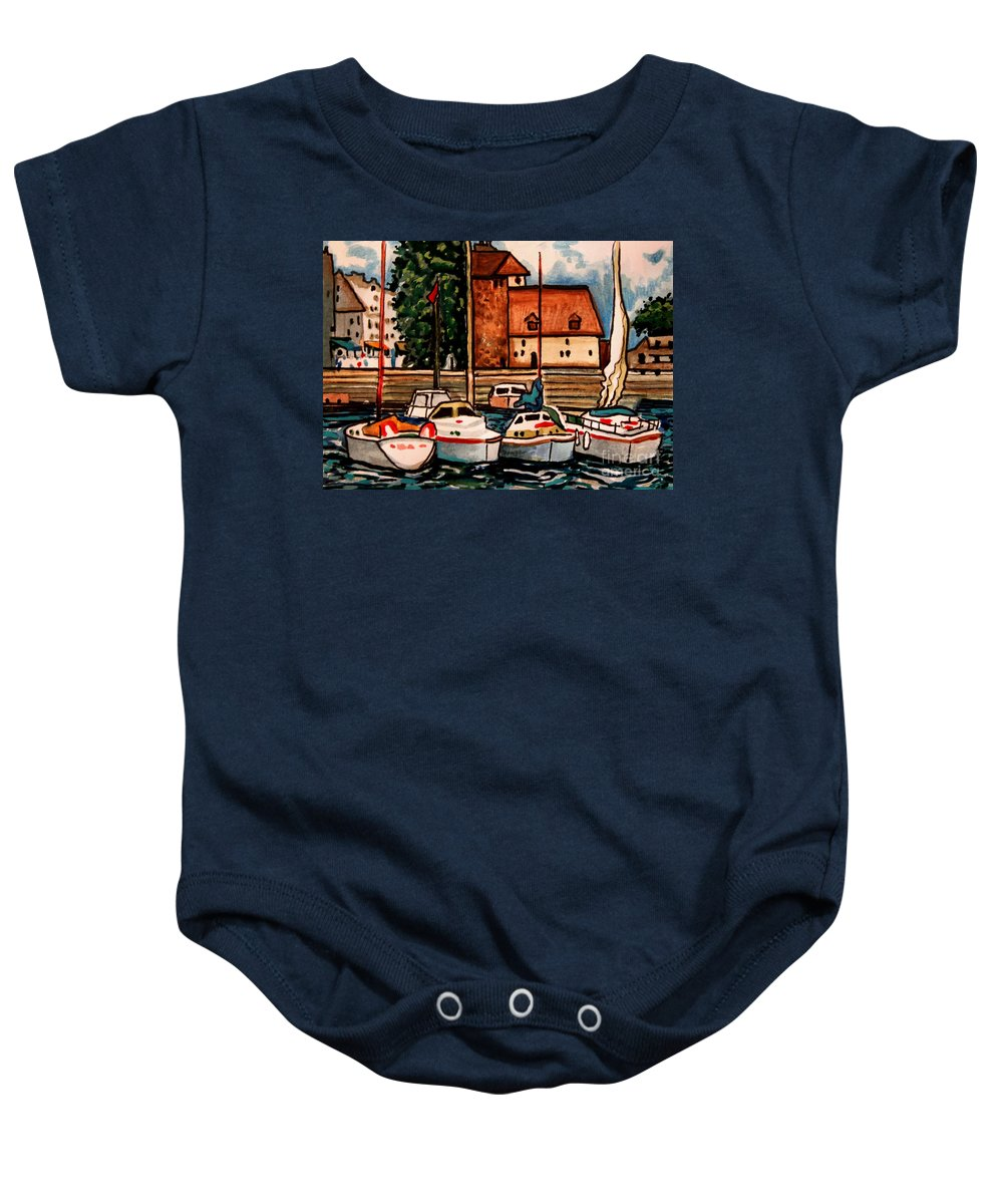 Watercolor Baby Onesie featuring the painting Sailboats In The Harbor by Elizabeth Robinette Tyndall