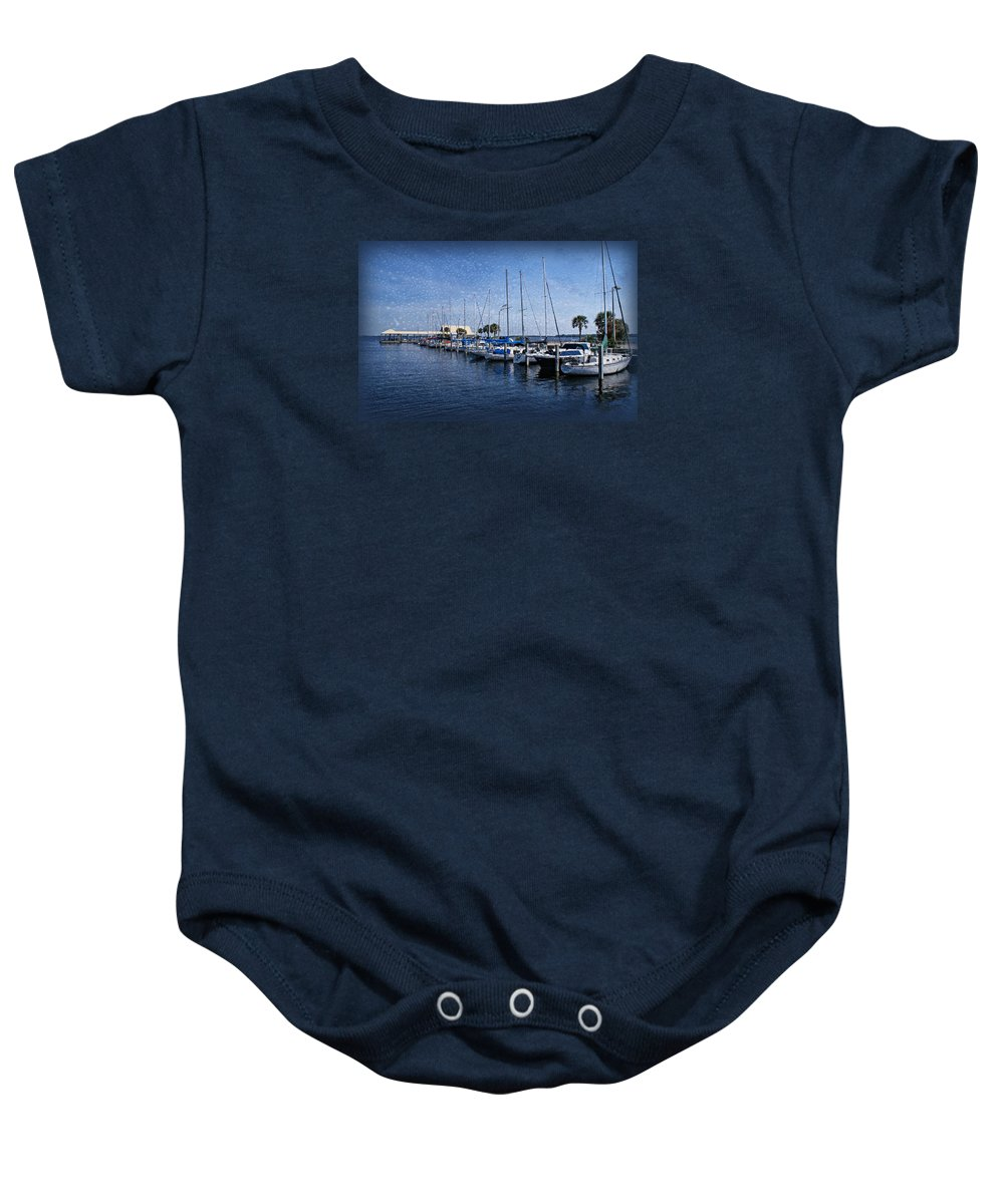 Sailboats Baby Onesie featuring the photograph Sailboats by Sandy Keeton