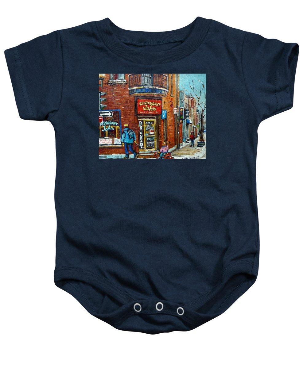 Restaurant John Montreal Baby Onesie featuring the painting Saint Henri Street In Winter by Carole Spandau