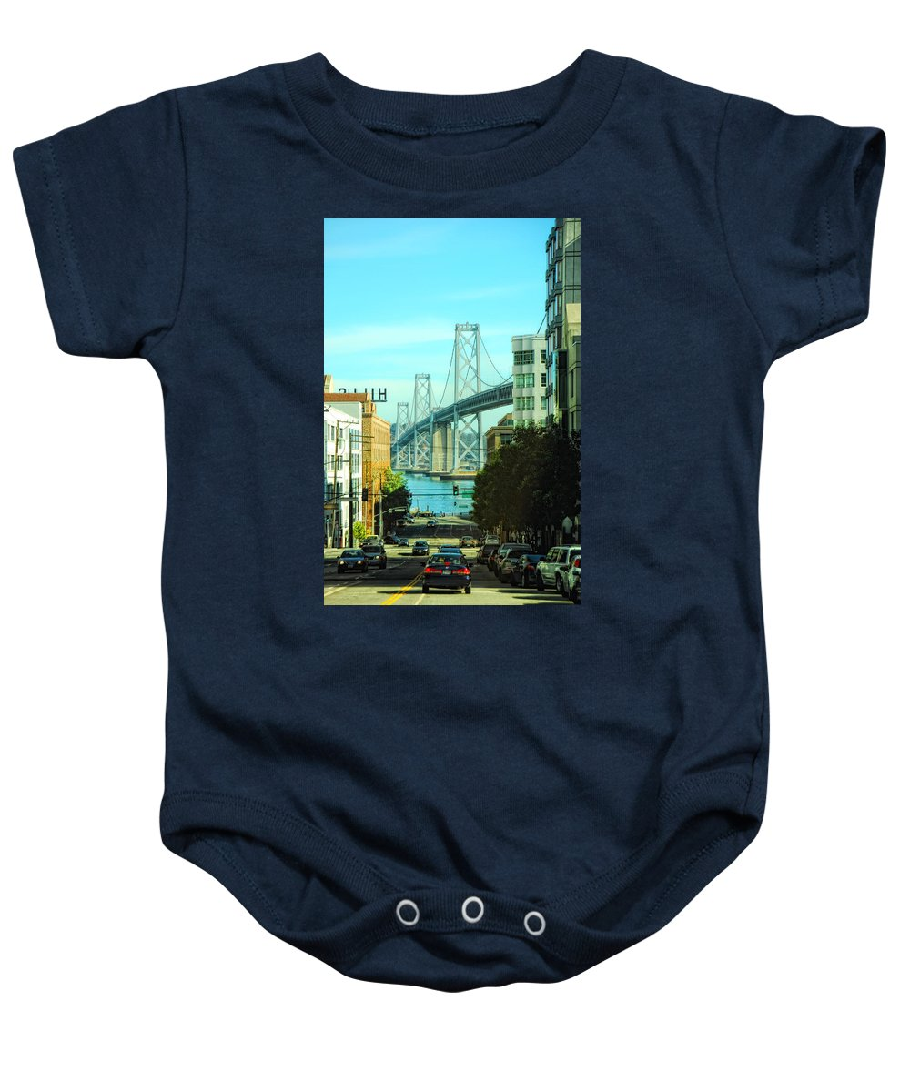 San Francisco Baby Onesie featuring the photograph San Francisco Street by Donna Blackhall