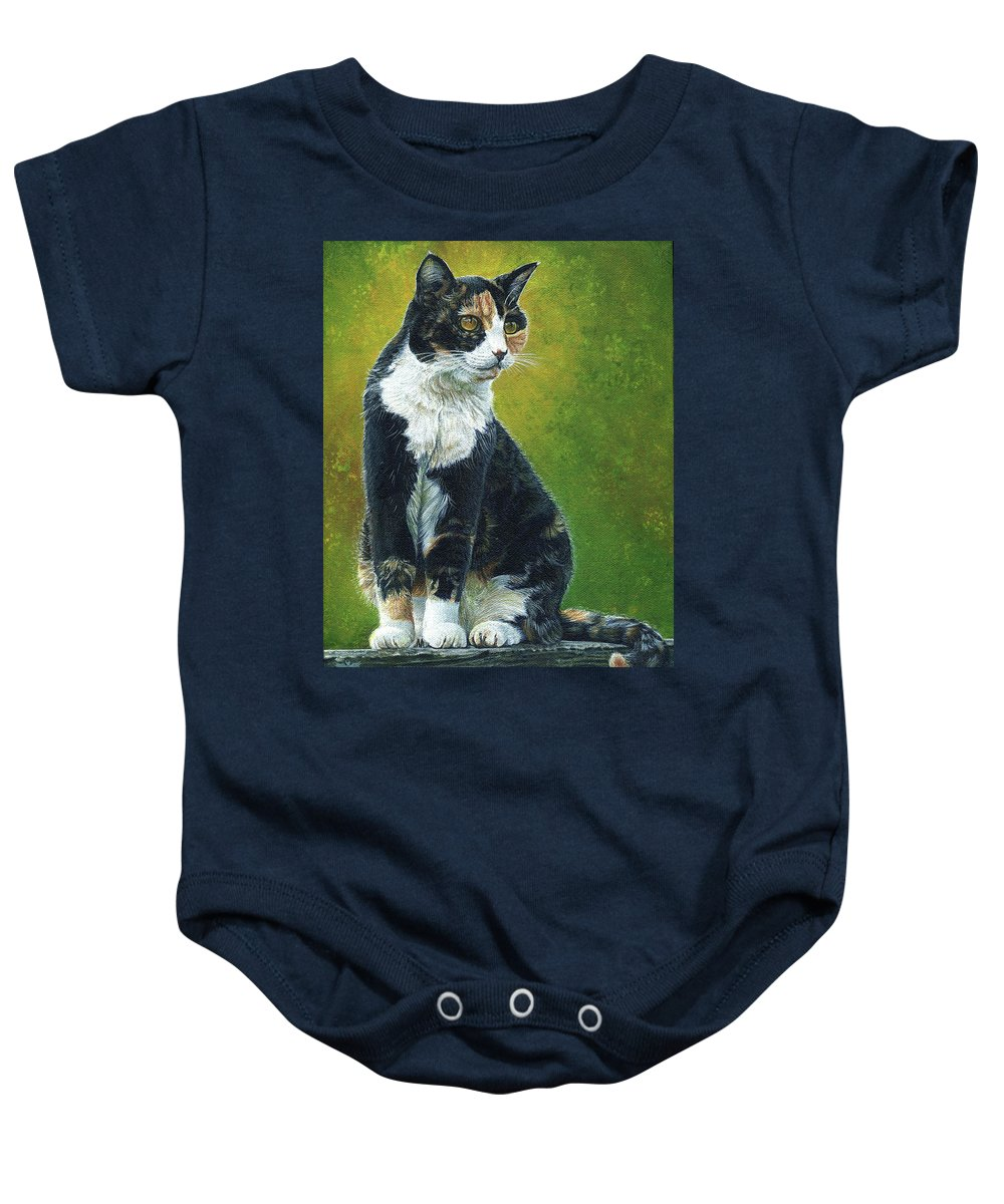 Sassy Baby Onesie featuring the painting Sassy by Cara Bevan