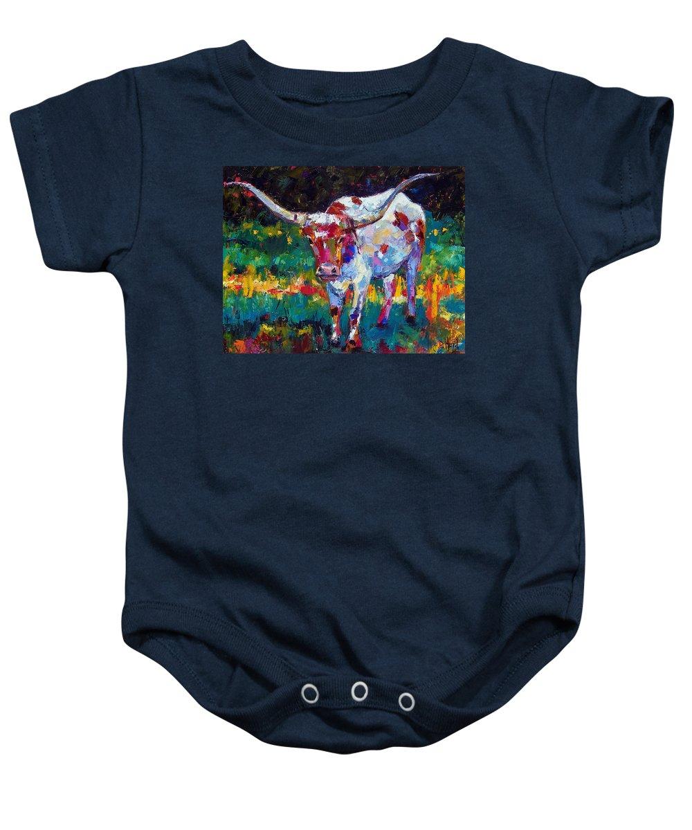 Longhorn Baby Onesie featuring the painting Sassy by Debra Hurd