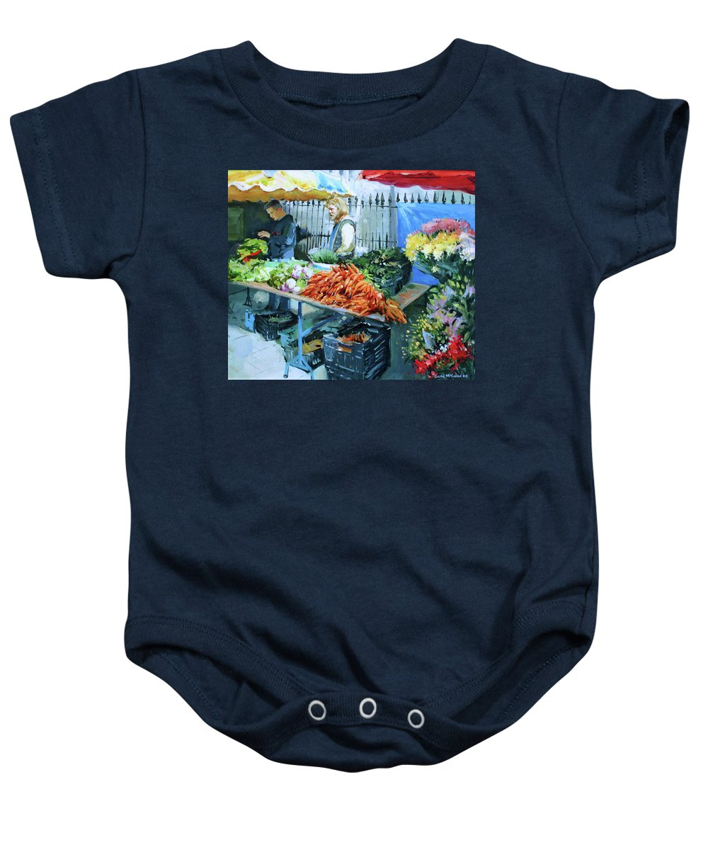 Galway Baby Onesie featuring the painting Saturday Market by Conor McGuire