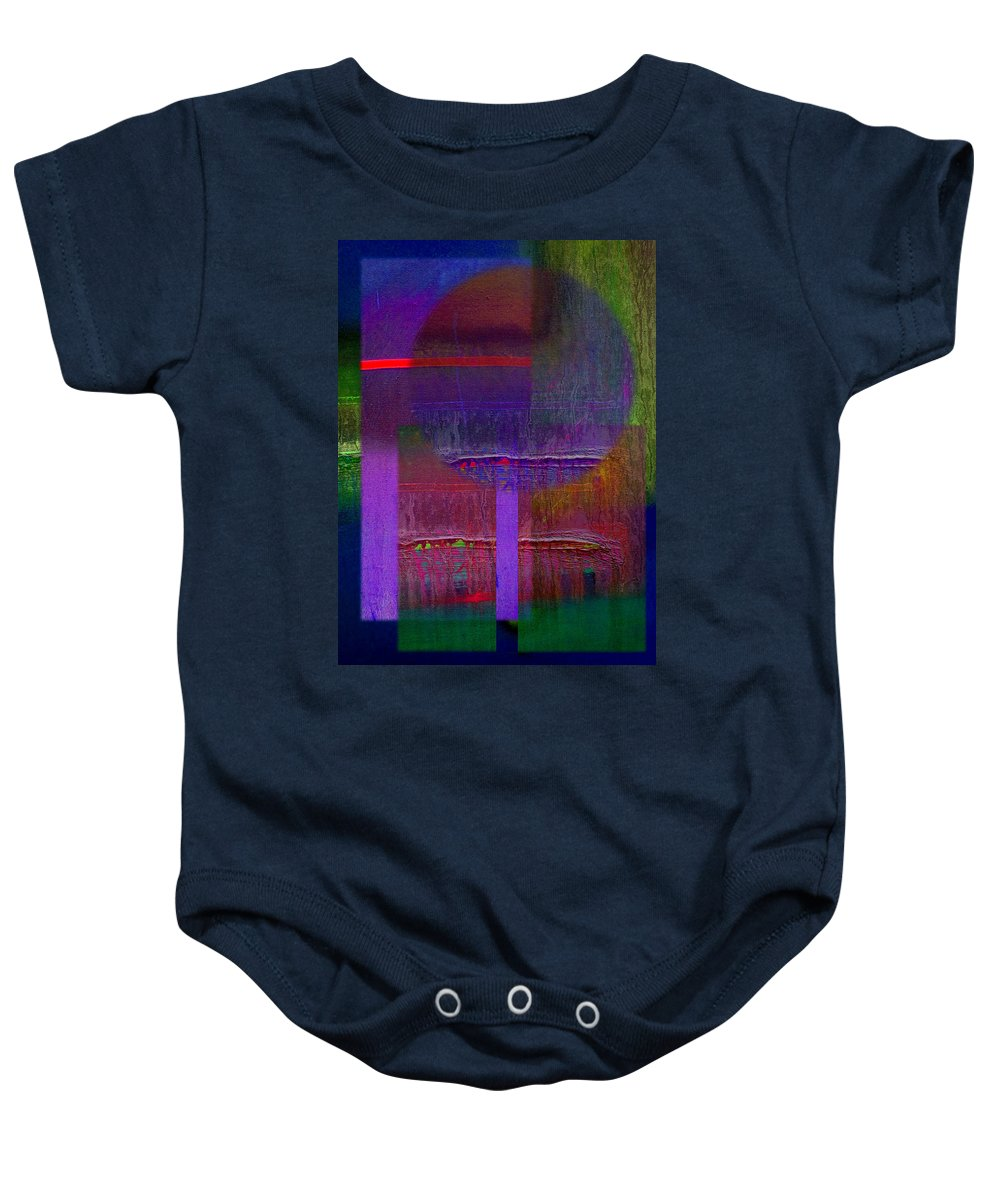Landscape Baby Onesie featuring the painting Saturn Abstract by Charles Stuart
