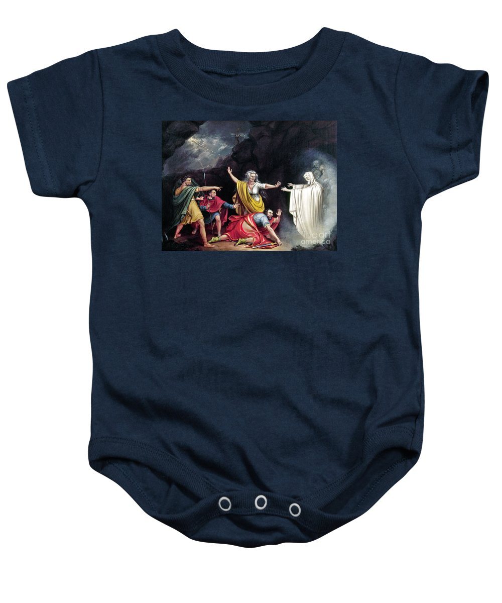 1828 Baby Onesie featuring the photograph Saul & Witch Of Endor by Granger