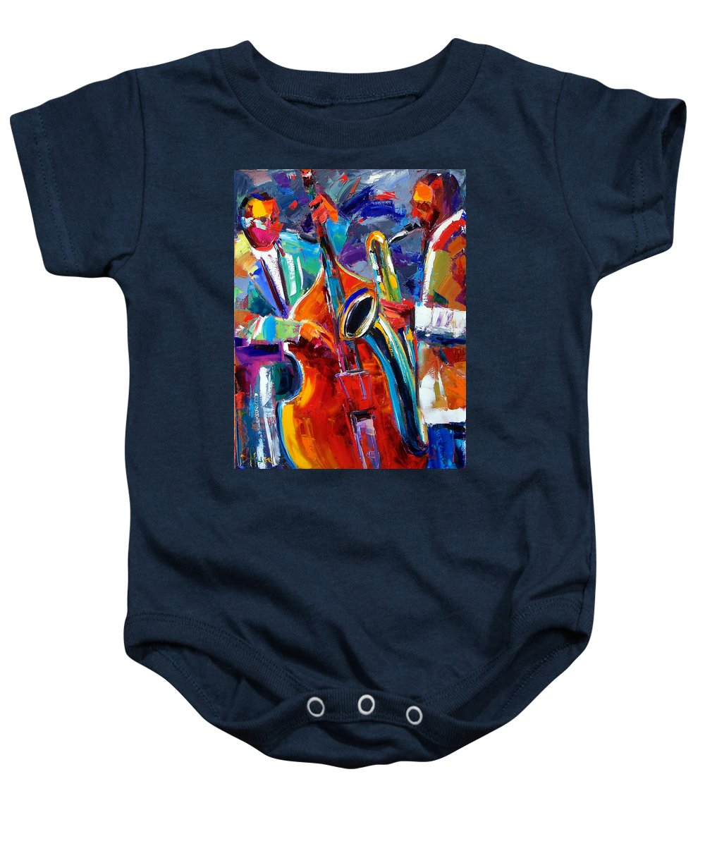 Jazz Painting Baby Onesie featuring the painting Sax And Bass by Debra Hurd