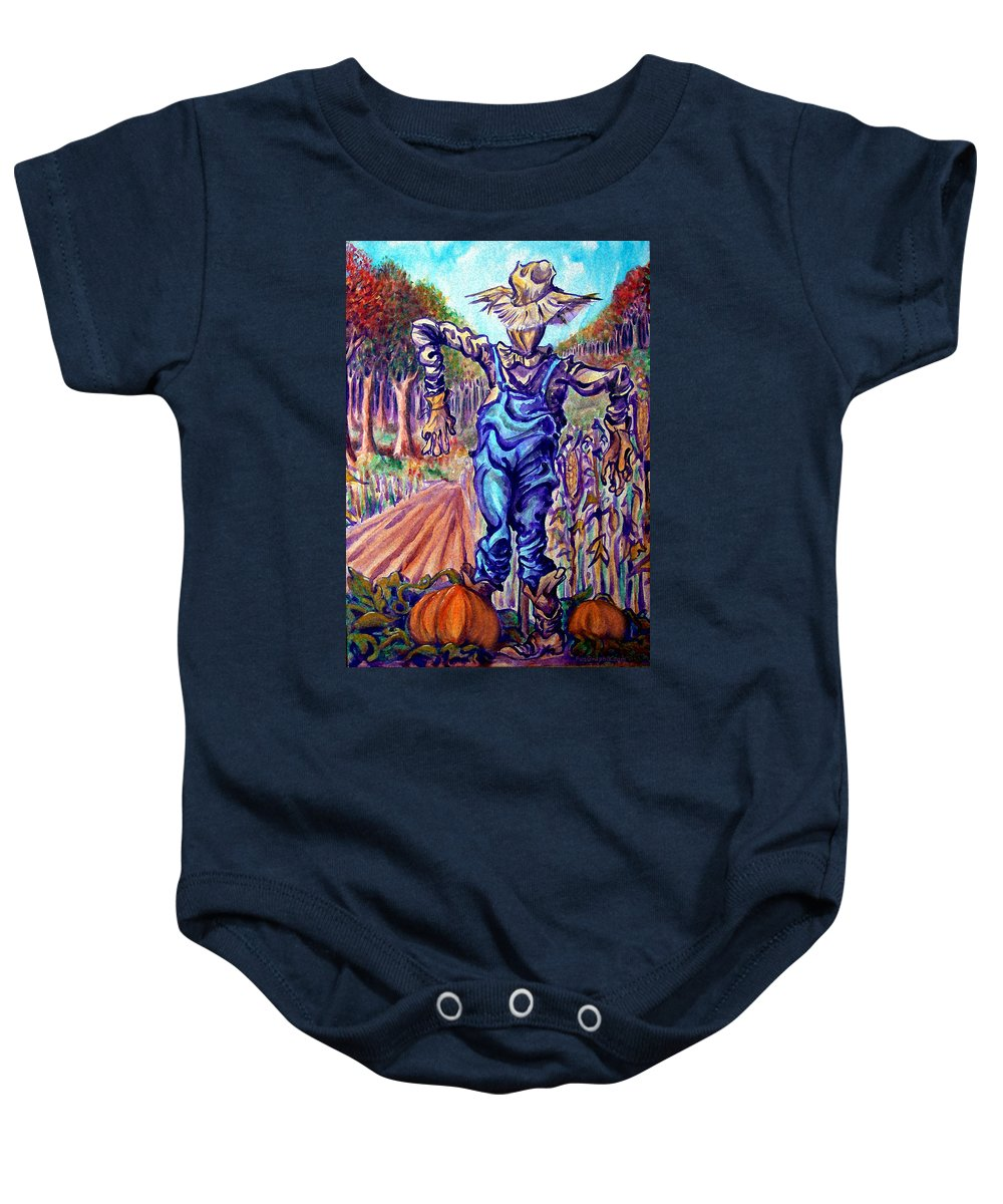 Scarecrow Baby Onesie featuring the painting Scarecrow by Kevin Middleton